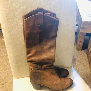 💗 Brown Frye Stacked Heel Boots Size 6.5